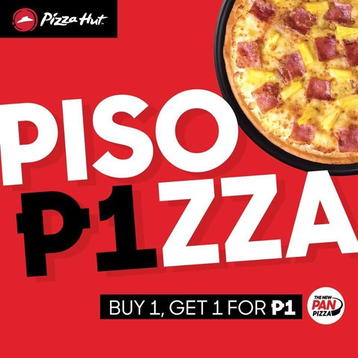 Pizza Hut Piso Pizza is back! Buy a Large ala carte Pan Pizza and get a Regular Hawaiian Supreme Pan Pizza for only P1